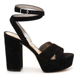 NIB Sam Edelman Size 8 Mara Black Suede Block Heel